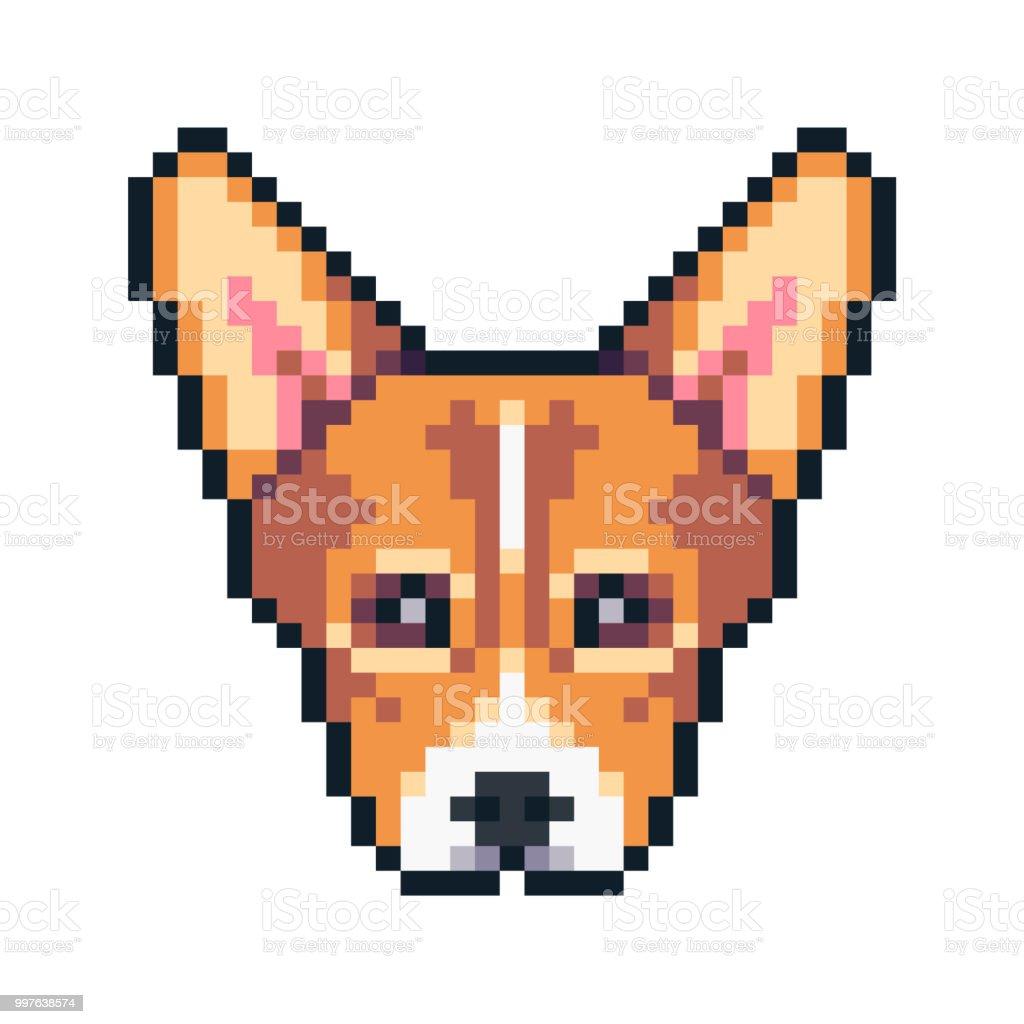 Pixel Art Corgi Visage Vector Icon Vecteurs Libres De Droits
