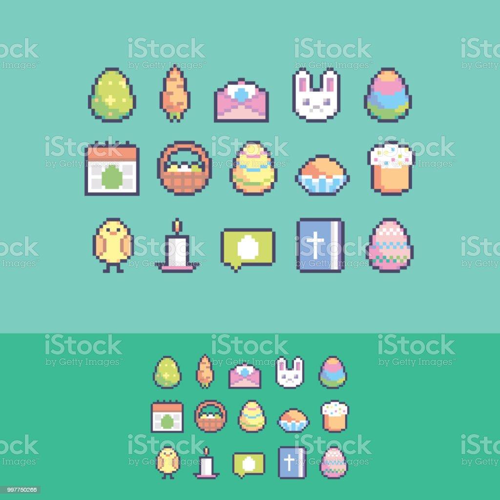 Pixel Art Mignon Pâques Vecteur Icônes Définies Vecteurs