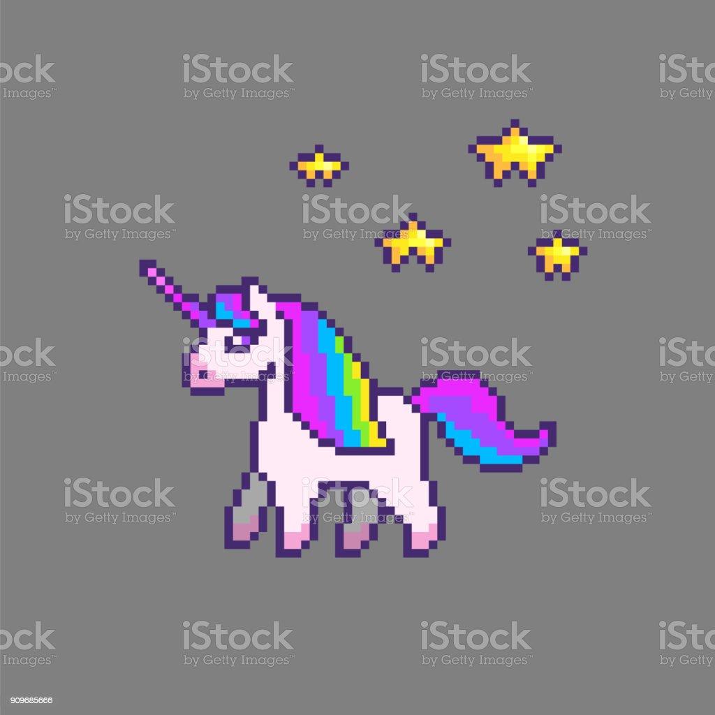 Licorne Mignon De Pixel Art Vecteurs Libres De Droits Et
