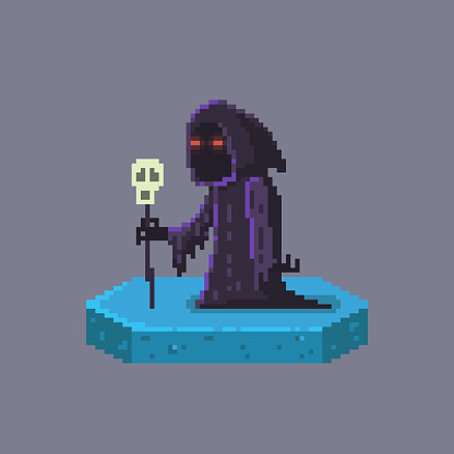 Pixel art death character. Fairytale personage.