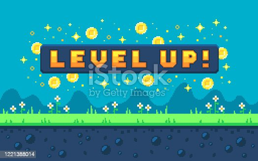 Pixel art design with outdoor landscape background. Colorful pixel arcade screen for game design. Banner with button level up. Game design concept in retro style. Vector illustration.