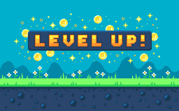 Pixel art design with outdoor landscape background. Pixel art design with outdoor landscape background. Colorful pixel arcade screen for game design. Banner with button level up. Game design concept in retro style. Vector illustration. layered stock illustrations