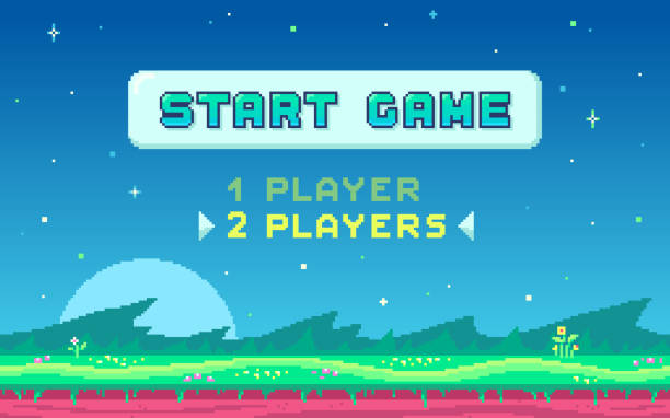 Pixel art design with outdoor landscape background. Pixel art UI design with outdoor landscape background. Colorful pixel arcade screen for game design. Banner with button Start Game . Game design concept in retro style. Vector illustration. leisure games stock illustrations