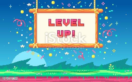 istock Pixel art design with outdoor landscape background. 1272570822