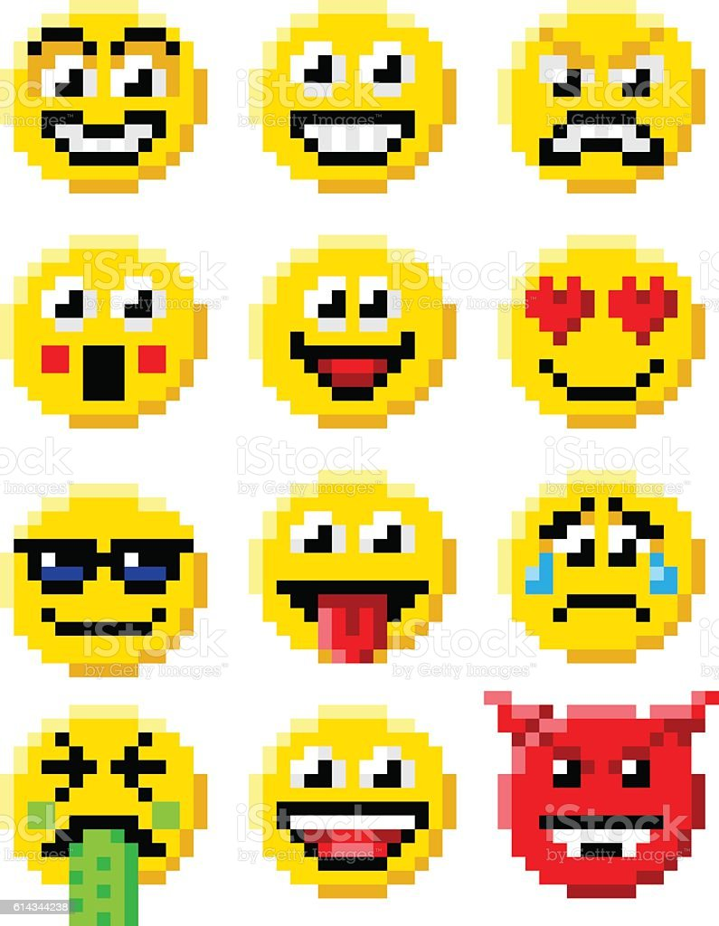 Pixel Art Emoji Emoticon Set Cliparts Vectoriels Et Plus D Images