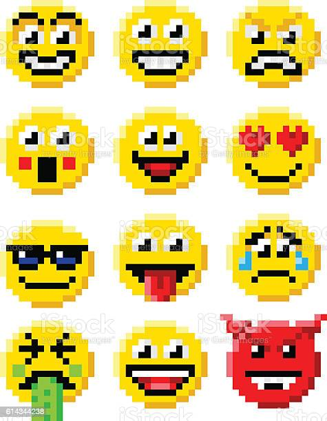Ensemble De Vecteur Pixel Emoji Telecharger Vectoriel
