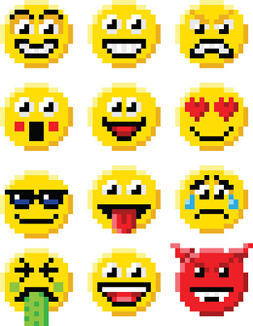 Pixel Art Emoji Emoticon Set Stock Illustration Download