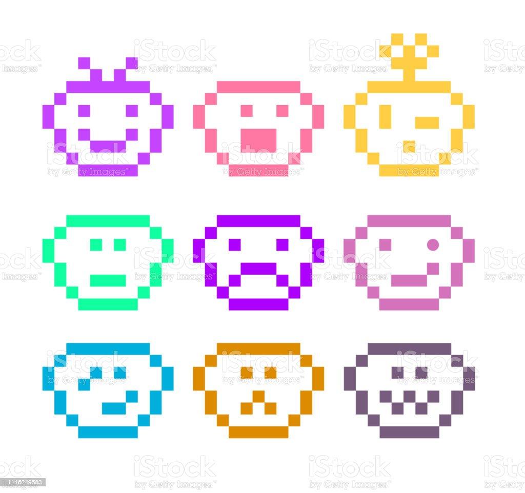 Pixel Art Emoji Icône Ensemble Vecteurs Libres De Droits Et