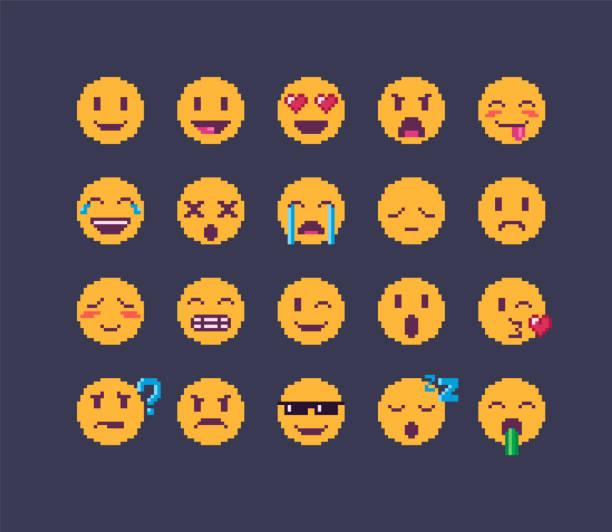 pixel-kunst-emoji-icon-set - gepixelt stock-grafiken, -clipart, -cartoons und -symbole