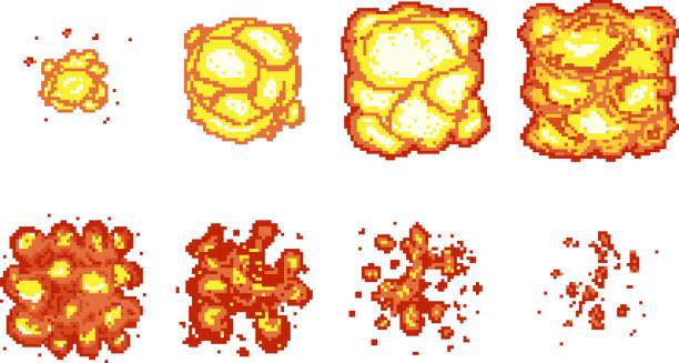 Pixel-art Explosion-animation Bilder – Vektorgrafik