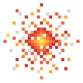 Pixel art explosion. Abstract bomb mosaic. Vector illustration isolated on white background