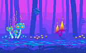 Pixel art fairy tale forest at night. Fantasy game location with mushrooms. Seamless vector background.