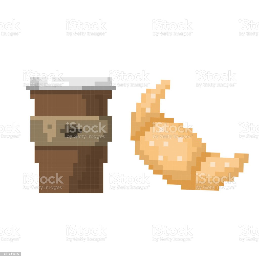 Pixel art fast drink cup and croissant vector illustration vector art illustration
