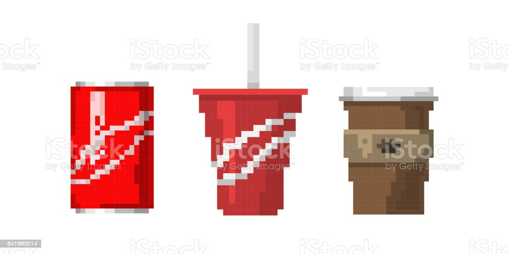 Pixel Art Fast Drink Cups Vector Illustration Stock
