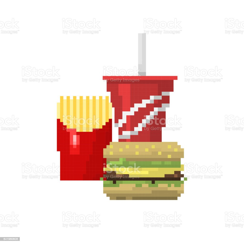 Pixel Art Fast Food Hamburger And Cola Icons Vector Stock