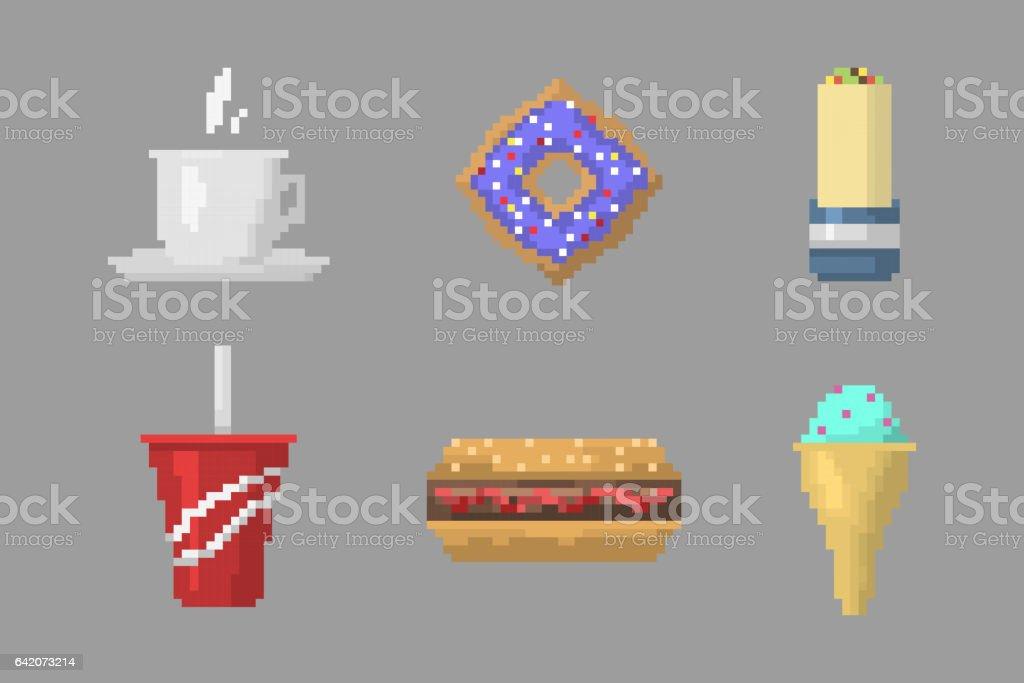 Icônes De Fastfood Pixel Art Vectoriel Vecteurs Libres De