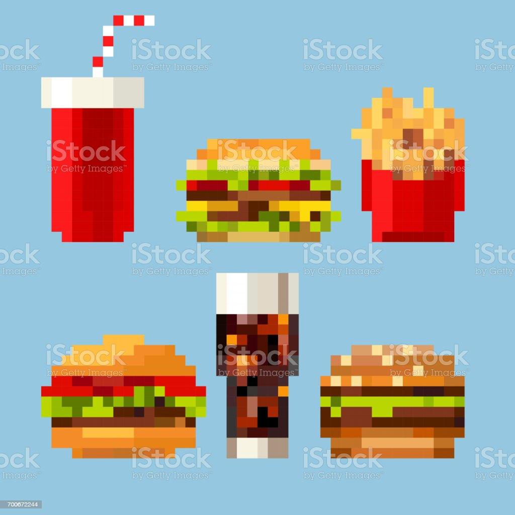 Pixel Art Fastfood Vecteurs Libres De Droits Et Plus Dimages Vectorielles De Aliment