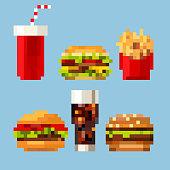 Pixel Art Hamburger Isolated On White Background Stock