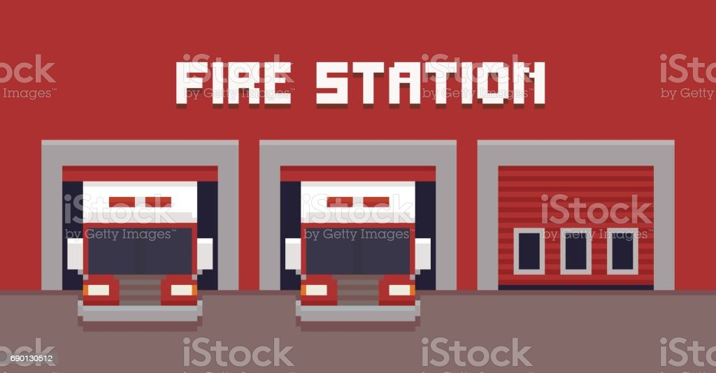 royalty free firehouse garage doors clip art vector images rh istockphoto com Fire Station Clip Art Fire Truck Clip Art