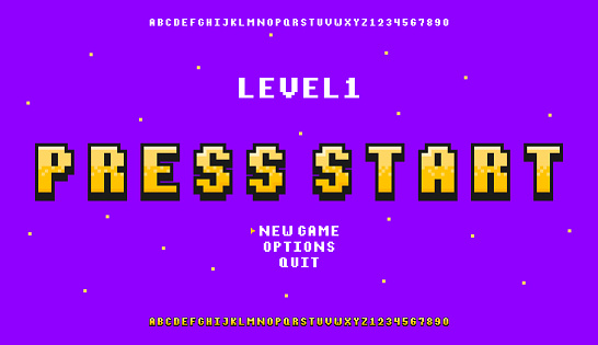 Pixel art font. Retro alphabet for 8bit games or retro-looking project. Vintage pixel typeface design with stylized letters and numbers.