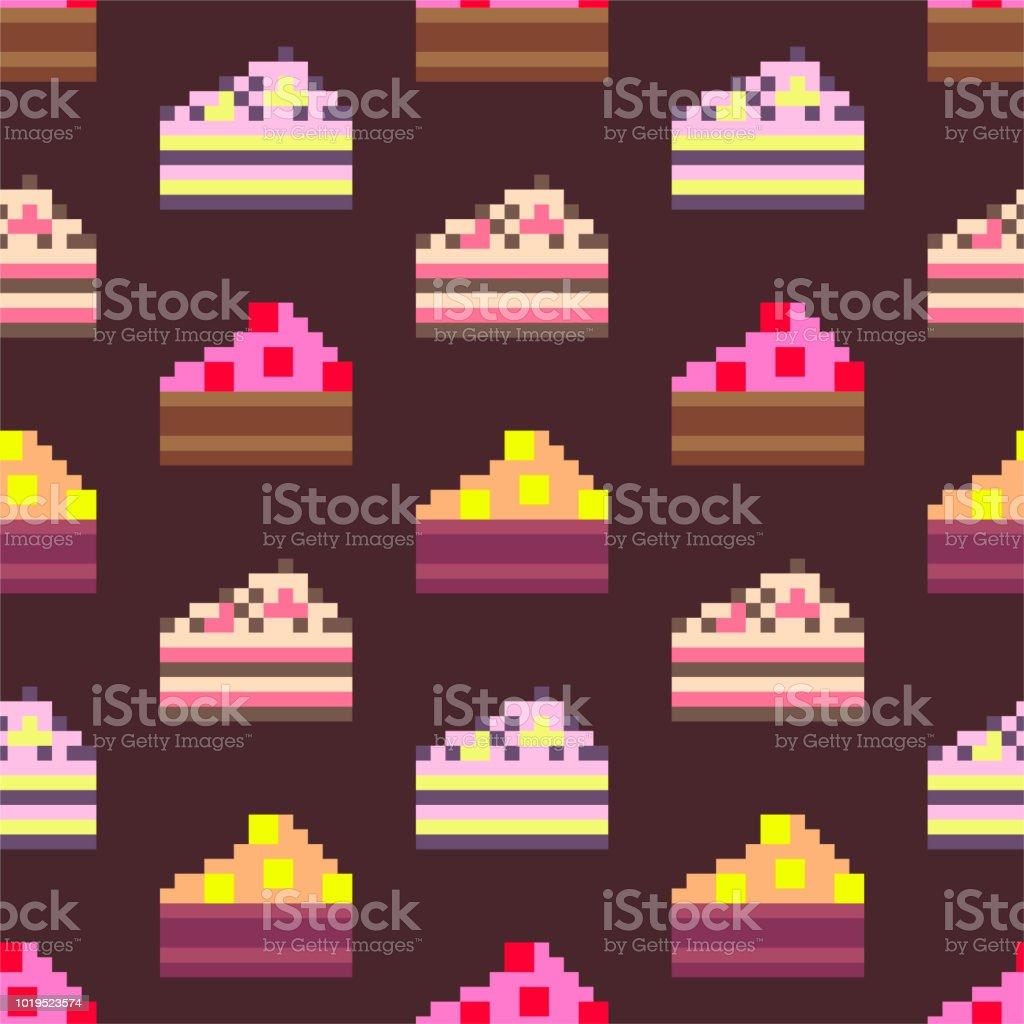 Gâteaux De Pixel Art Des Répéter De Fond Des éléments