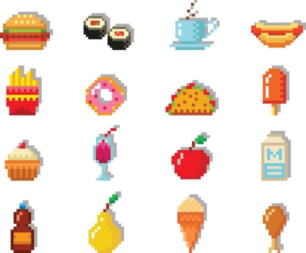 pixel-kunst-essen-computer-design-ikonen vektor illustration restaurant pixelig element fast-food retro-spiel webgrafik - hamburger schnellgericht stock-grafiken, -clipart, -cartoons und -symbole