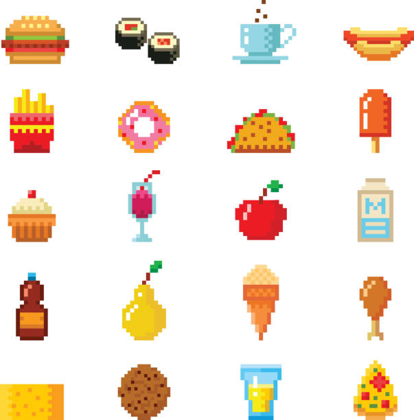 vektor-pixel-kunst-essen-computer-design-ikonen - tassenkuchen stock-grafiken, -clipart, -cartoons und -symbole