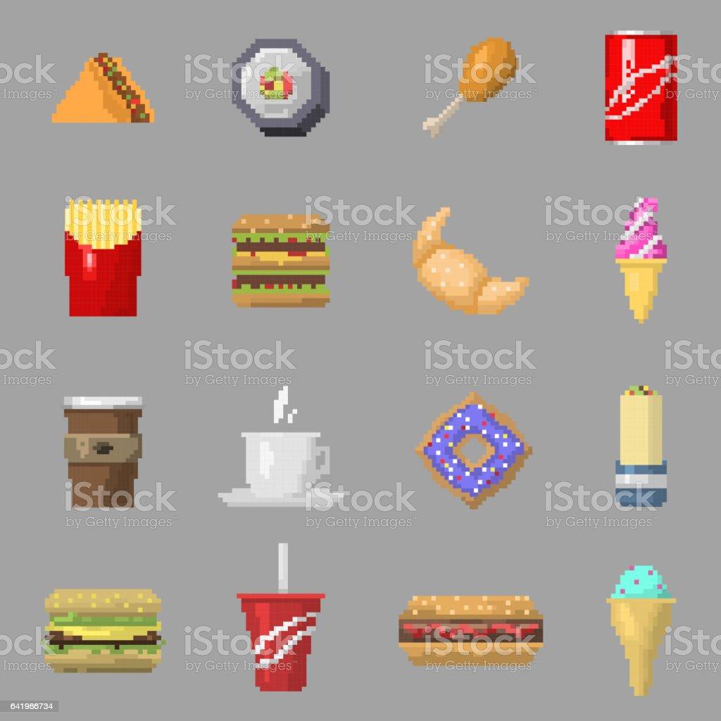Vecteur Dicônes Pixel Art Alimentaire Isolé Vecteurs Libres