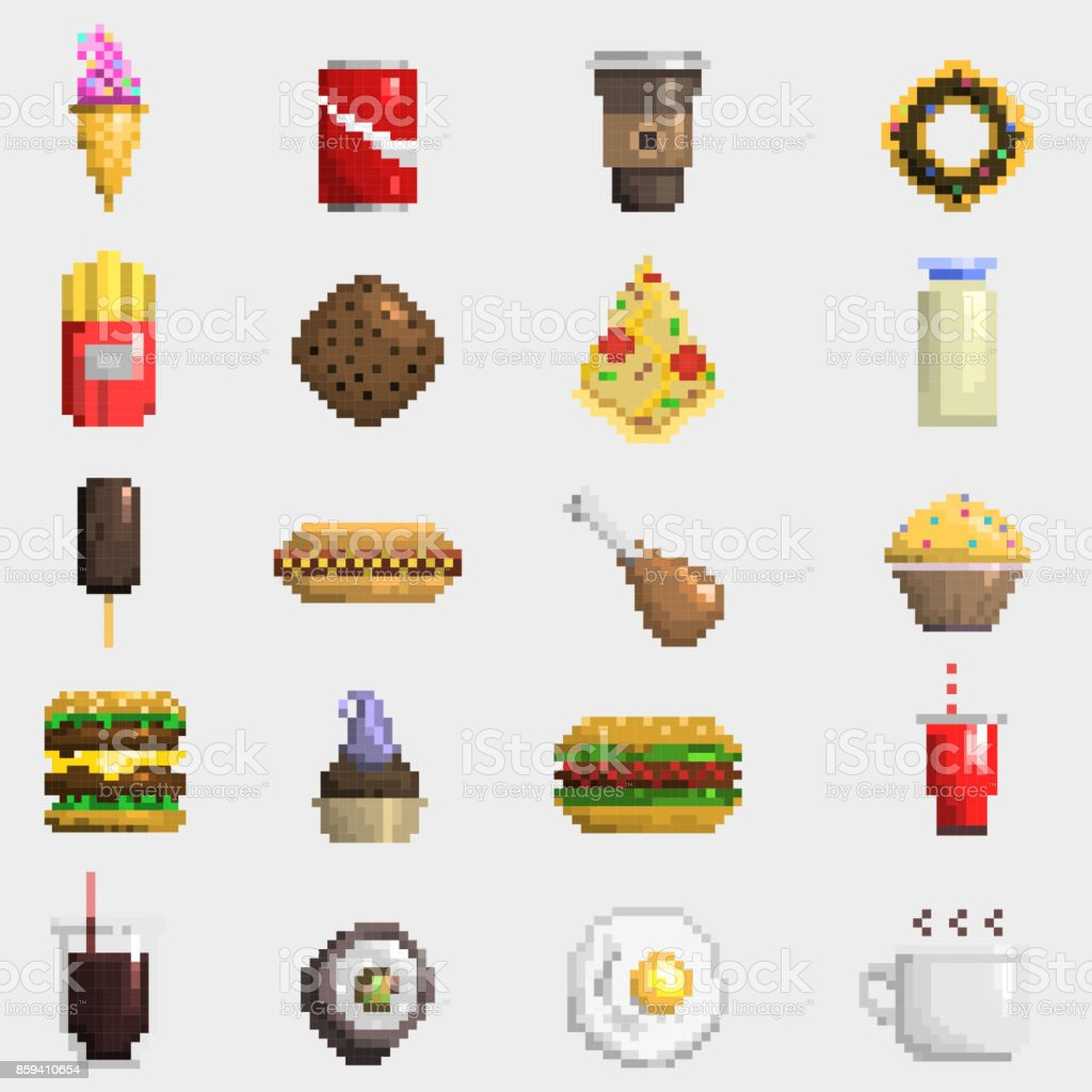 Pixel Art Food Icons Vector Stock Illustration Download