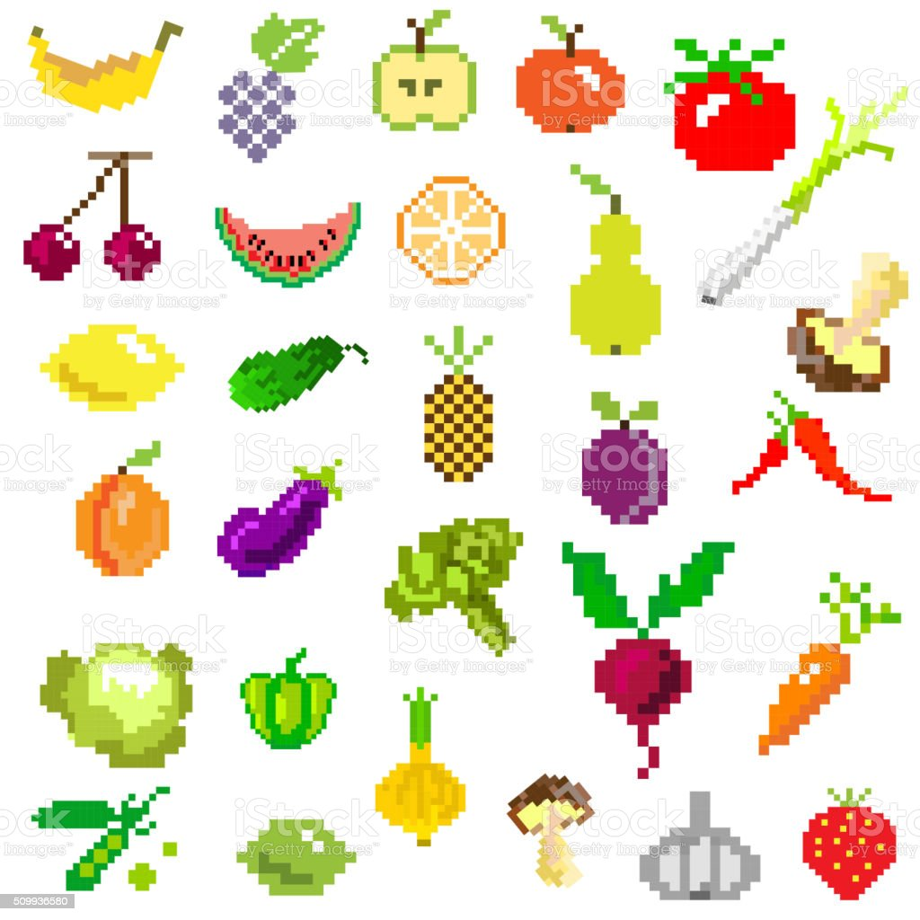 Pixel Art Fruit And Vegetables On White Stock Illustration Download Image Now Istock