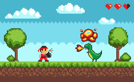 Pixel Art Game, Design in 8 bit Style Character