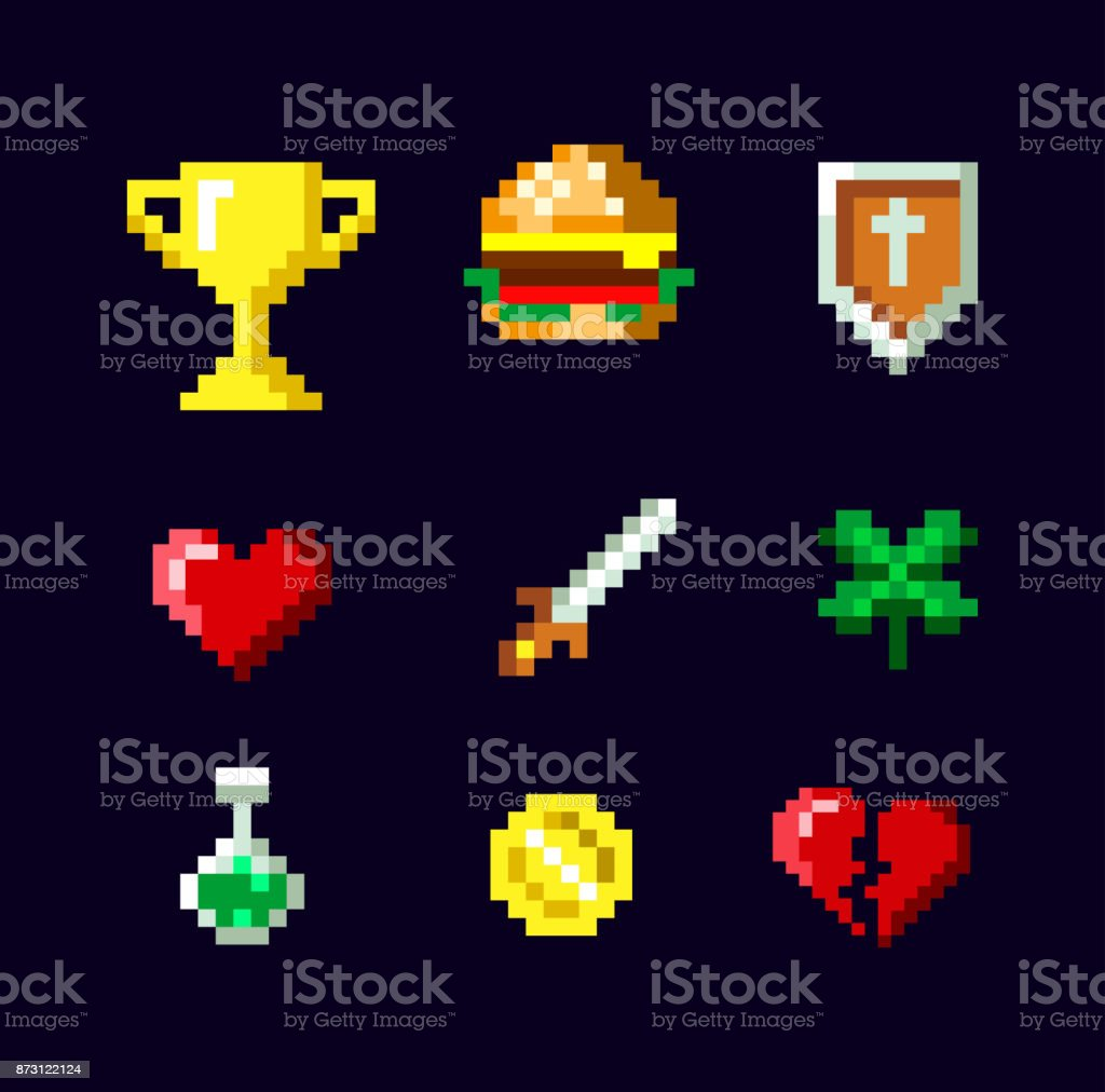 Pixel Art Game Icon Set Design Isolated On Dark Background