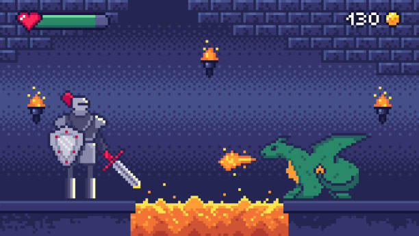 pixel art game level. held krieger kämpft 8-bit-drache, pixel videospiele levels szenenlandschaft und retro-gaming-vektor-illustration - lava stock-grafiken, -clipart, -cartoons und -symbole
