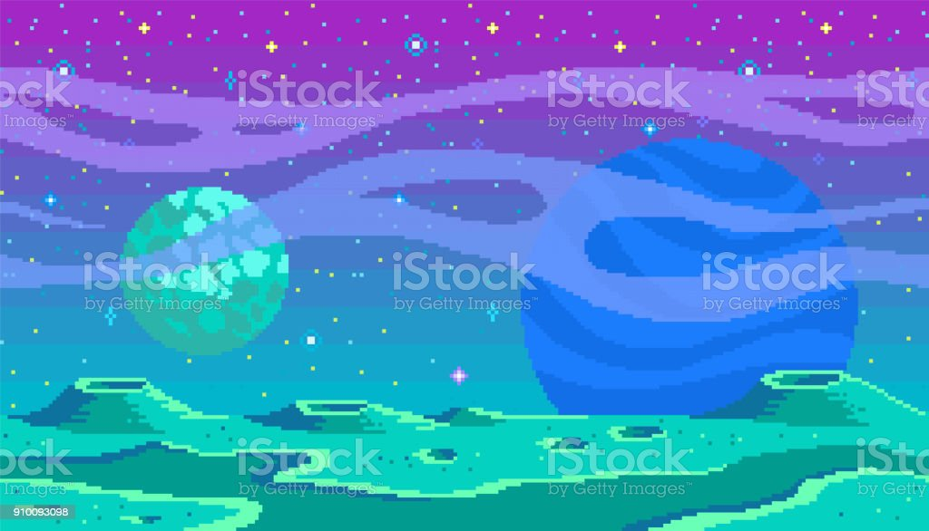 Ubicación juego de pixel art. - ilustración de arte vectorial