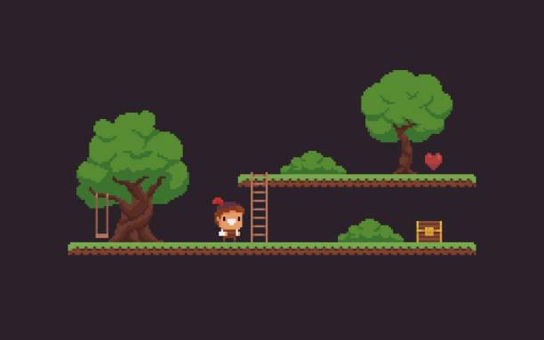 Pixel Art Game Scene Pixel art game scene with character, trees, ladder, chest, heart and grass platforms video game stock illustrations