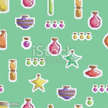 Pixel Art Gaming Potion Bottles