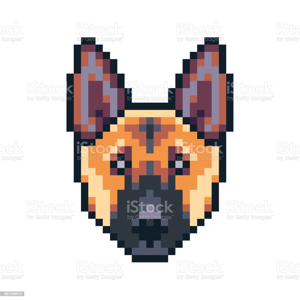Pixel Art German Shepherd Dog Vector Icon Stock Illustration