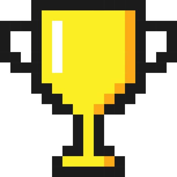 Pixel-Kunst Goldpokal Award Trophäe Symbol – Vektorgrafik