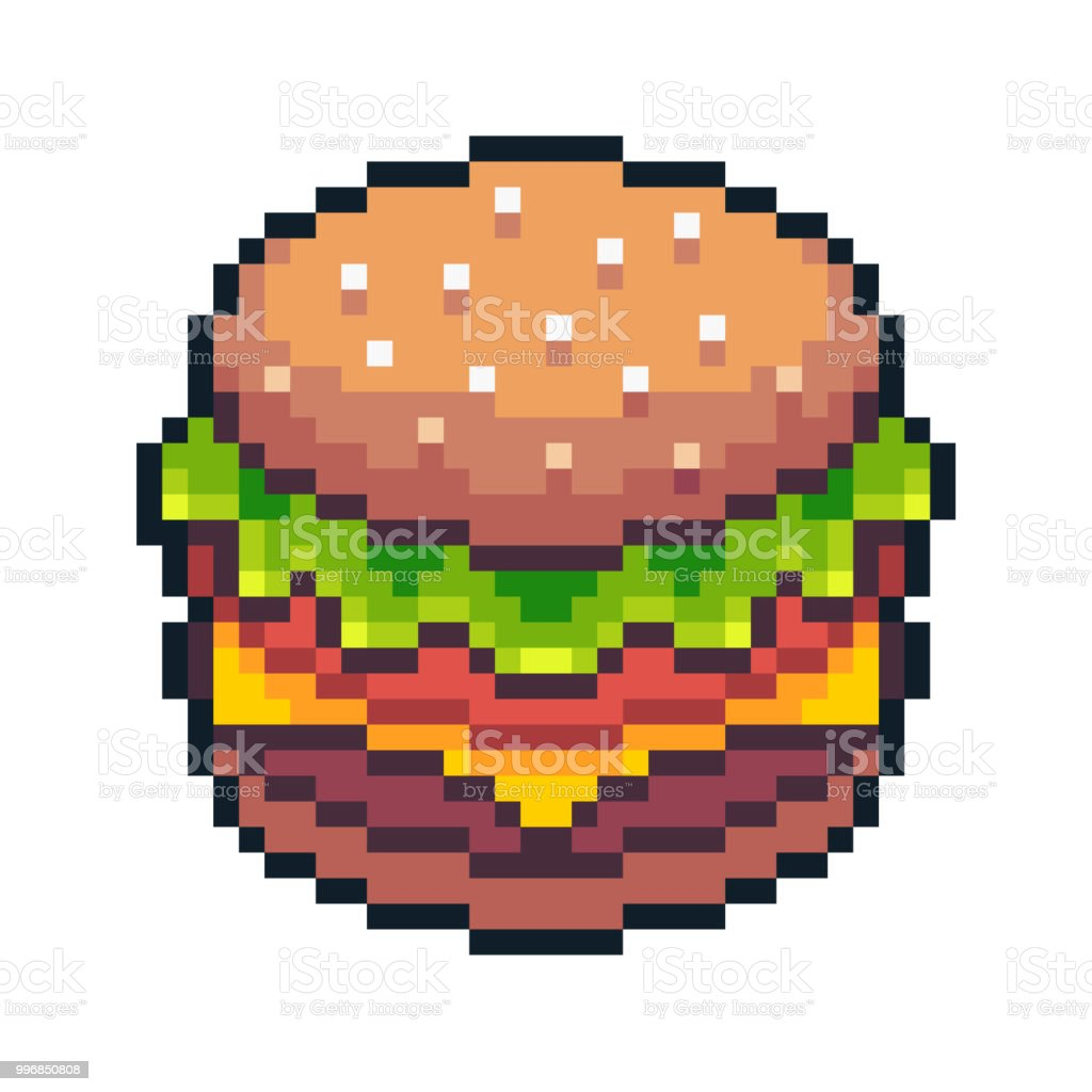 Pixel Art Hamburger Isolated On White Background Stock