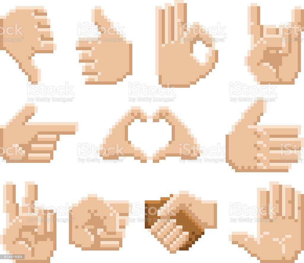 Pixel Art Hand Icons Okのベクターアート素材や画像を多数ご用意 Istock