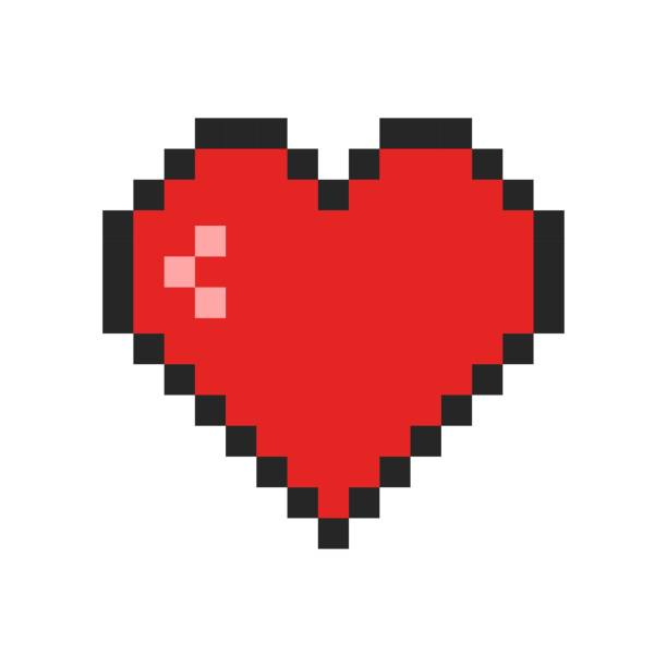 Pixel art heart icon. Retro game symbol. Template design for Valentine's Day greeting card, nerds, gamers, IT developers. Vector illustration pixelated stock illustrations
