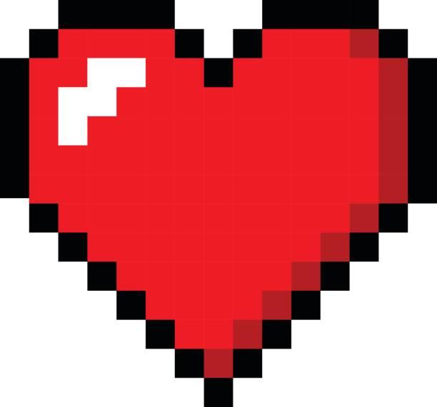 Pixel art heart love color icon valentine vector art illustration