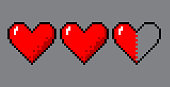 Vector pixel art 8 bit style hearts for game. Colorful stylized illustration with concept of spendable lives game mode. Two full hearts and one in half.