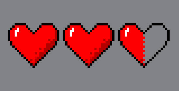 Pixel art hearts for game Vector pixel art 8 bit style hearts for game. Colorful stylized illustration with concept of spendable lives game mode. Two full hearts and one in half. number 8 stock illustrations