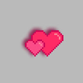 Pixel art hearts with shadow, 3d effect.