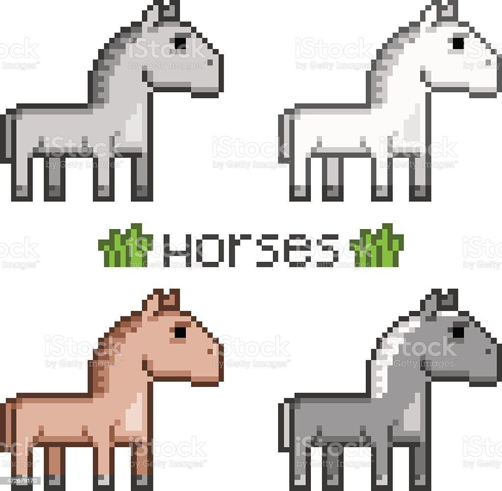 Pixel Art Troupeau De Chevaux Vecteurs Libres De Droits Et