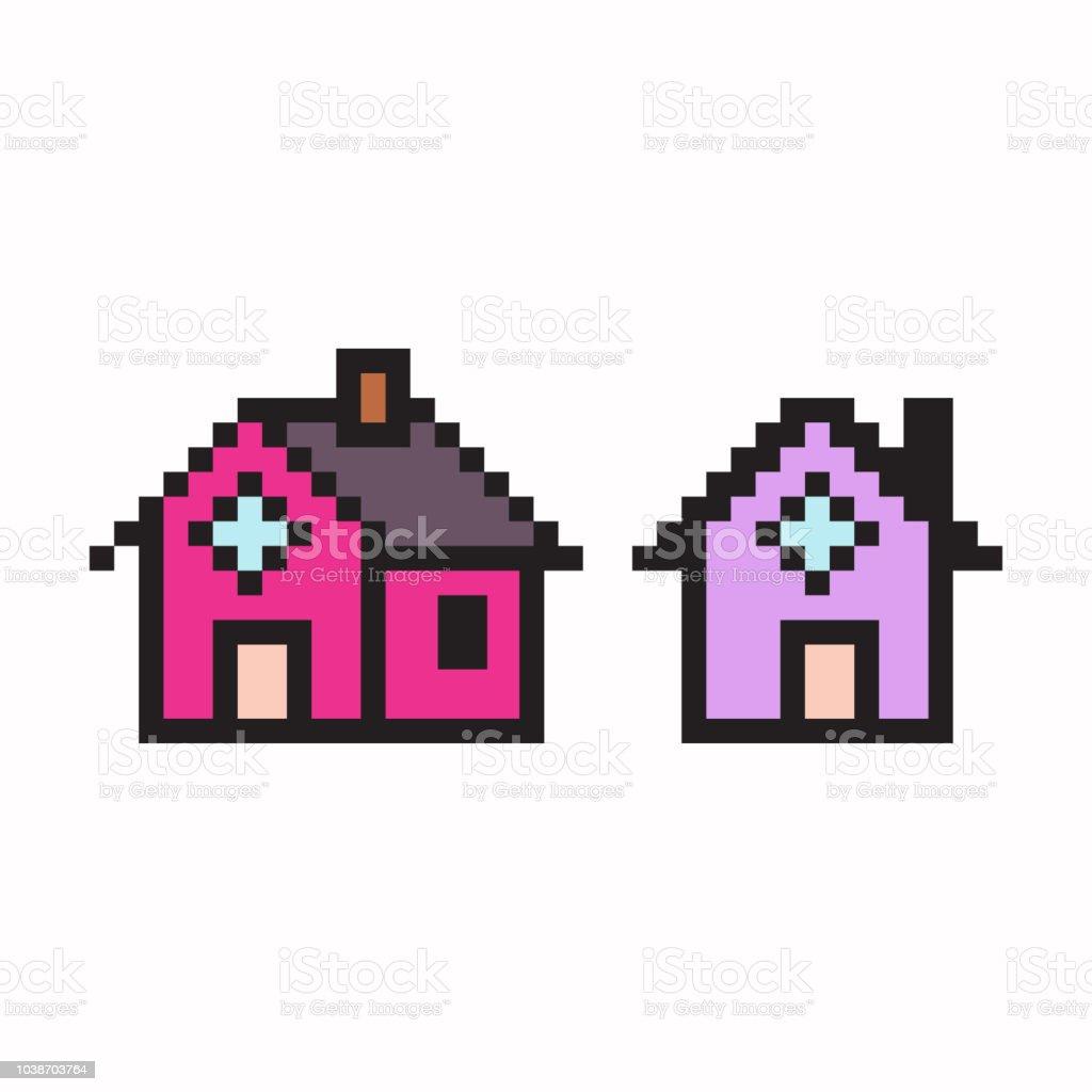ピクセル アートの家。8 ビット ゲーム web のアイコンをベクトルに分離の白い背景を設定します。 ベクターアートイラスト