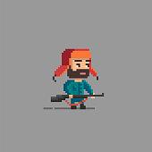 Pixel art hunter character. Unusual hero for you design