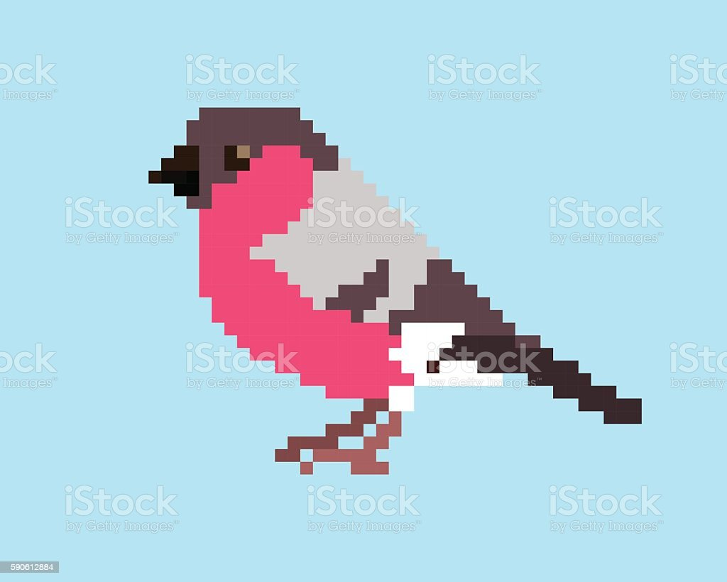 Pixel art icon of bullfinch on light blue background.