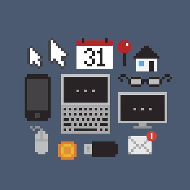 pixel art symbole - gepixelt stock-grafiken, -clipart, -cartoons und -symbole